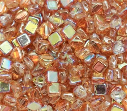 Czech Silky 2-Hole Beads 6x6mm - CZS-00030-98535 - Crystal Orange Rainbow - 25 count