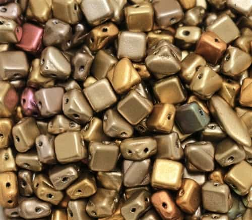 Czech Silky 2-Hole Beads 6x6mm - CZS-01610 - Metallic Mix - 25 count