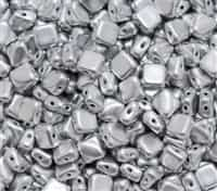 Czech Silky 2-Hole Beads 6x6mm - CZS-01700 - Aluminum Silver - 25 count