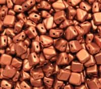 Czech Silky 2-Hole Beads 6x6mm - CZS-01750 - Copper - 25 count