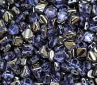 Czech Silky 2-Hole Beads 6x6mm - CZS-20210-27401 - Lavender Chrome - 25 count
