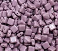 Czech Silky 2-Hole Beads 6x6mm - CZS-23020 - Opaque Lilac - 25 count