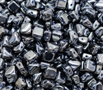 Czech Silky 2-Hole Beads 6x6mm - CZS-23980-14400 - Jet Hematite Full - 25 count
