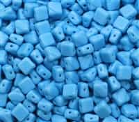 Czech Silky 2-Hole Beads 6x6mm - CZS-63030 - Opaque Turquoise - 25 count