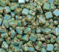 Czech Silky 2-Hole Beads 6x6mm - CZS-63030-43400 - Opaque Turquoise Picasso - 25 count