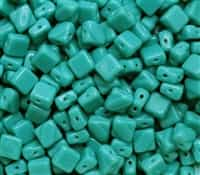 Czech Silky 2-Hole Beads 6x6mm - CZS-63130 - Opaque Green Turquoise - 25 count