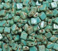 Czech Silky 2-Hole Beads 6x6mm - CZS-63130-43400 - Opaque Green Turquoise Picasso - 25 count