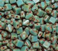Czech Silky 2-Hole Beads 6x6mm - CZS-63130-86800 - Opaque Green Turquoise Tarvertin - 25 count