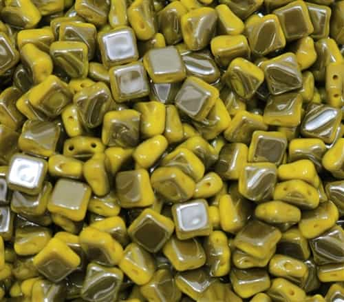 Czech Silky 2-Hole Beads 6x6mm - CZS-83120-27200 - Opaque Yellow - Vacuum Hematite Full - 25 count