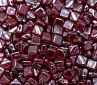 Czech Silky 2-Hole Beads 6x6mm - CZS-90100-14400 - Ruby Shimmer - 25 count