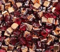 Czech Silky 2-Hole Beads 6x6mm - CZS-90100-27101 - Ruby Capri Gold - 25 count