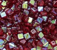 Czech Silky 2-Hole Beads 6x6mm - CZS-90100-28701 - Ruby AB - 25 count
