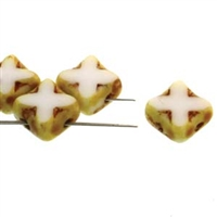 Czech Silky 2-Hole Table Cut Cross Beads 6x6mm - CZSC-03000-86800 - White Travertine - 25 count