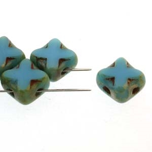 Czech Silky 2-Hole Table Cut Cross Beads 6x6mm - CZSC-63030-43400 - Turquoise Picasso - 25 count