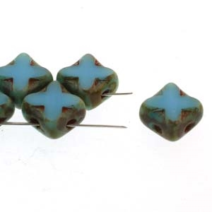 Czech Silky 2-Hole Table Cut Cross Beads 6x6mm - CZS-63030-86800 - Turquoise Travertin - 25 count
