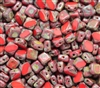Czech Silky 2-Hole Table Cut Beads 6x6mm - CZS-93190-86800 - Opaque Red Dark Travertin - 25 count