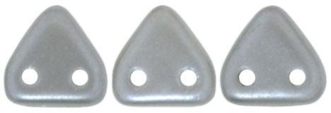 CzechMates Two Hole Trangles 6mm: CZT-25028 - Pearl Coat - Silver