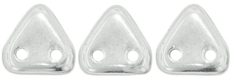 CzechMates Two Hole Trangles 6mm: CZT-27000 - Silver