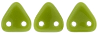 CzechMates Two Hole Trangles 6mm: CZT-53420 - Opaque Olive - 25 count