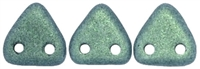 CzechMates Two Hole Trangles 6mm: CZT-79051 - Metallic Suede - Light Green