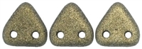 CzechMates Two Hole Trangles 6mm: CZT-79080 - Metallic Suede - Gold