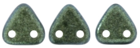 CzechMates Two Hole Trangles 6mm: CZT-94104 - Polychrome - Aqua Teal - 25 Triangles