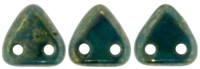 CzechMates Two Hole Trangles 6mm: CZT-BT6315 - Persian Turquoise - Bronze Picasso