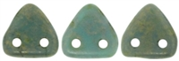 CzechMates Two Hole Trangles 6mm: CZT-CT6313 - Turquoise - Copper Picasso