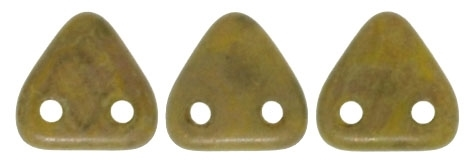CzechMates Two Hole Trangles 6mm: CZT-CT84020 - Chartreuse - Copper Picasso