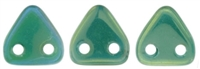 CzechMates Two Hole Trangles 6mm: CZT-LR52060 - Luster Iris - Atlantis Green