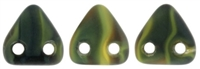 CzechMates Two Hole Trangles 6mm: CZT-M26807 - Matte - Opaque Yellow/Jet - 25 count