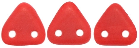 CzechMates Two Hole Trangles 6mm: CZT-M9320 - Matte - Opaque Red