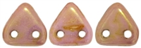 CzechMates Two Hole Trangles 6mm: CZT-P65491 - Luster - Opaque Rose/Gold Topaz