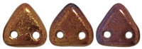CzechMates Two Hole Trangles 6mm: CZT-R14415 - Bronze Luster Iris - Opaque Red