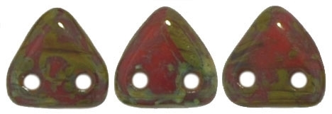 CzechMates Two Hole Trangles 6mm: CZT-T9320 - Opaque Red - Picasso