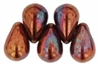 CZTD-R14415 - Czech Tear Drops 6/4mm: Iris - Copper - 25 Count