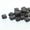 Two Hole Tile 5mm : CZTWN05-23980-84110 - Black Matte - 30 Bead Strand