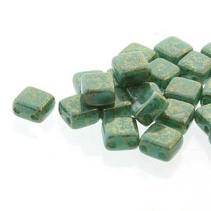 Two Hole Tile 5mm : CZTWN05-63130-15495 - Turquoise Lumi - 30 Bead Strand