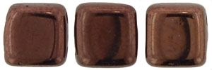 Two Hole Tile 6mm Dark Bronze 25 Bead Strand