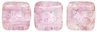CzechMates Two Hole Tile 6mm Luster - Transparent Topaz/Pink 25 Beads