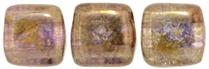 CzechMates Two Hole Tile 6mm Luster - Transparent Gold/Smoke Topaz 25 Beads