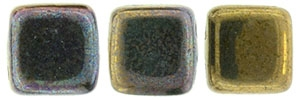 CzechMates Two Hole Tile 6mm - CZTWN06-15768 - Oxidized Bronze Clay - 25 Beads