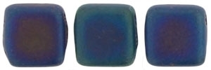 Two Hole Tile 6mm Matte Iris Blue 25 Bead Strand
