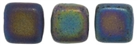 Two Hole Tile 6mm Matte Iris Green 25 Bead Strand