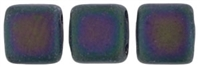 Two Hole Tile 6mm Matte Iris PURPLE 25 Bead Strand