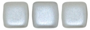 CzechMates Two Hole Tile 6mm - CZTWN06-25028 - Pearl Coat - Silver - 25 Beads