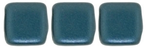 CzechMates Two Hole Tile 6mm - CZTWN06-25033 - Pearl Coat - Steel Blue - 25 Beads
