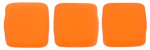 CzechMates Two Hole Tile 6mm - CZTWN06-25122 - Neon Orange - 25 Beads