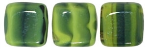 CzechMates Two Hole Tile 6mm Opaque Yellow/Jet 25 Beads