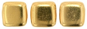 CzechMates Two Hole Tile 6mm 24KT Gold Plated 25 Beads